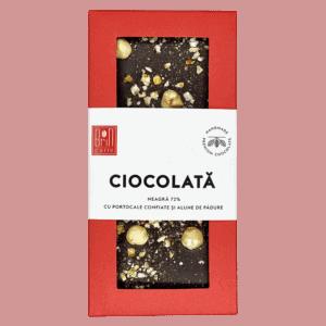 Ciocolată neagră (72%) cu portocale confiate și alune de pădure 100g